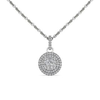 De Couer 10K White Gold 1/2ct TDW Diamond Halo Necklace - White H-I