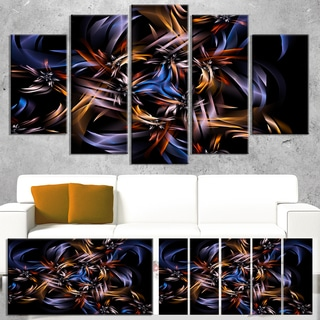 Blue Fractal Light Art in Dark - Abstract Large Abstract Art Canvas Print