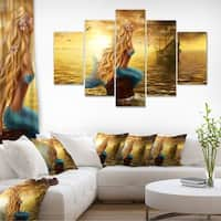 Sea Mermaid with Ghost Ship - Seascape Digital Art Canvas Print