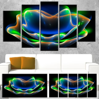 Green Fractal Flower in Dark - Floral Large Abstract Art Canvas Print