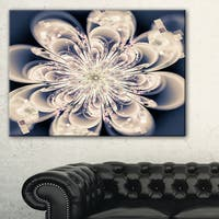 White Fractal Flower - Floral Digital Art Canvas Art Print