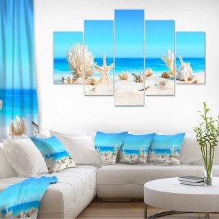 Seashells on Tropical Beach - Seashore Photo Canvas Print
