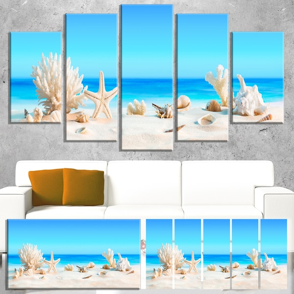 shop seashells on tropical beach seashore photo canvas print on
