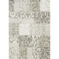 Iris Cream/ Grey Damask Patchwork Rug - 5'3 x 7'7