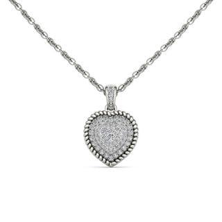 De Couer 10K White Gold 1/4ct TDW Diamond Cluster Heart Necklace (H-I, I2)