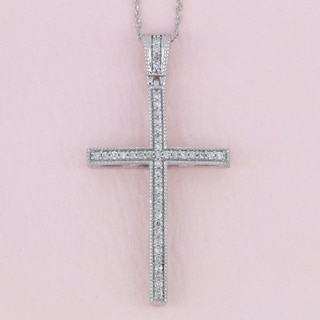 De Couer 10K White Gold 1/6ct TDW Diamond Cross Necklace - White H-I