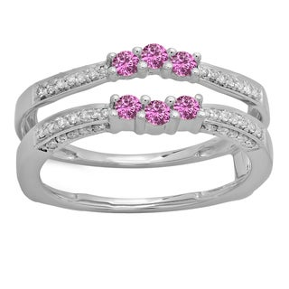 Elora 14k Gold 1/2ct TDW Pink Sapphire and Diamond Wedding Band Enhancer Ring (H-I, I2-I3)