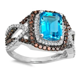 Elora 14k Gold 3 3/4ct TDW Blue Topaz and Diamond Engagement Ring (I-J, I2-I3)