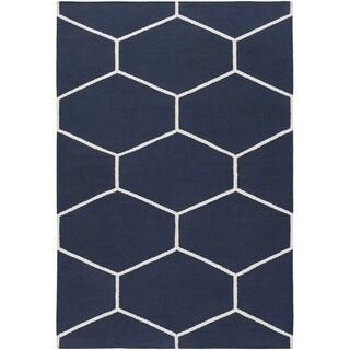 Hand Woven Narragansett Cotton Area Rug (9 x 13 - Navy)