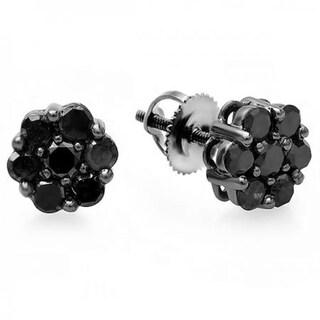 10k Black Gold 3/8ct TW Round-cut Black Diamond Cluster Flower Stud Earrings