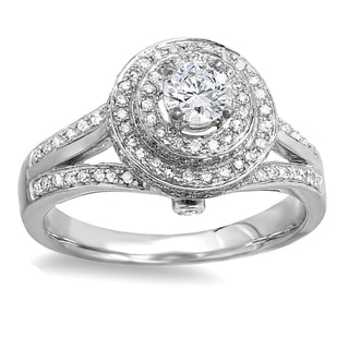 18k White Gold 1 1/4ct TW Round Diamond Halo Style Split Shank Vintage Bridal Engagement Ring (H-I, I1-I2)