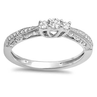 Dainty 10k White Gold 1/3ct TW Round Diamond 3-stone Promise Bridal Engagement Ring (H-I, I1-I2)