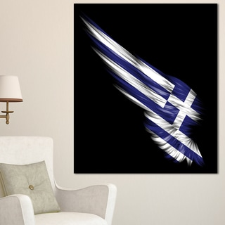 Wing with Greece Flag - Digital Art Canvas Print