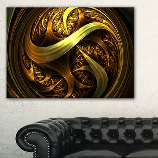 Golden Fractal Sphere in Dark - Abstract Large Abstract Art Canvas Print