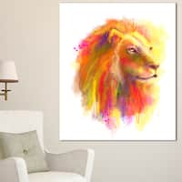 Lion with Colorful Mane - Animal Painting Canvas Art Print