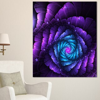 Purple Fractal Flower in Dark - Floral Large Abstract Art Canvas Print