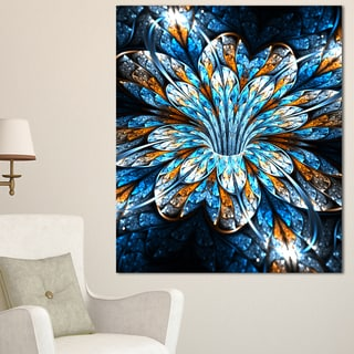 Turquoise Fractal Flower in Dark - Floral Large Abstract Art Canvas Print