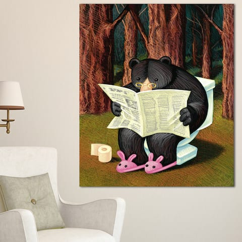 Bear in the Woods - Animal Digital Art Canvas Print