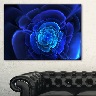 Bright Blue Fractal Flower in Dark - Floral Large Abstract Art Canvas Print