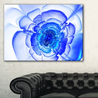 Large Blue Fractal Flower Petals - Floral Large Abstract Art Canvas Print