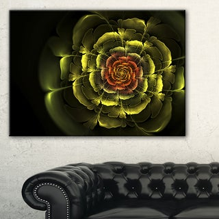 Fractal Yellow Rose in Dark - Floral Large Abstract Art Canvas Print