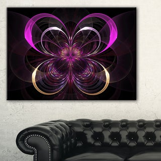 Fractal Purple Flower in Dark - Floral Large Abstract Art Canvas Print