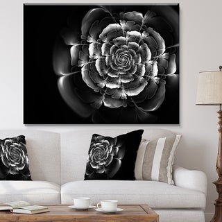 Fractal Silver Rose in Dark - Floral Large Abstract Art Canvas Print