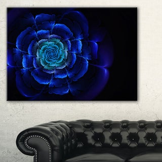 Fractal Silver Blue in Dark - Floral Large Abstract Art Canvas Print