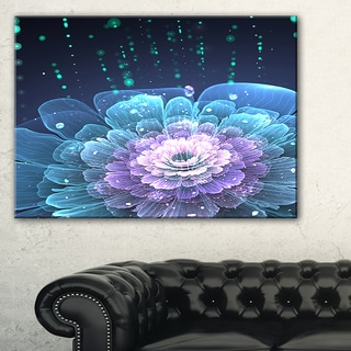 Fractal Flower with Water Drops - Floral Digital Art Canvas Print