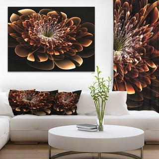 Brown Fractal Flower - Floral Digital Art Canvas Art Print