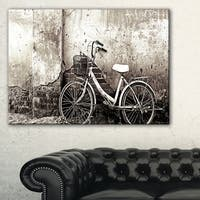 Old Bicycle and Cracked Wall - Photography Canvas Art Print - Black