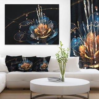 Orange Blue Flower with Water Drops - Floral Digital Art Canvas Print