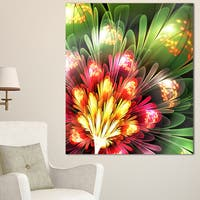 Fractal Flower Red and Green - Floral Digital Art Canvas Print