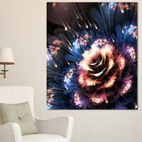 Fractal Flower Orange and Blue - Floral Digital Art Canvas Print