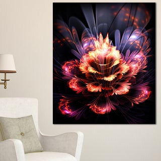 Fractal Flower Orange and Purple - Floral Digital Art Canvas Print