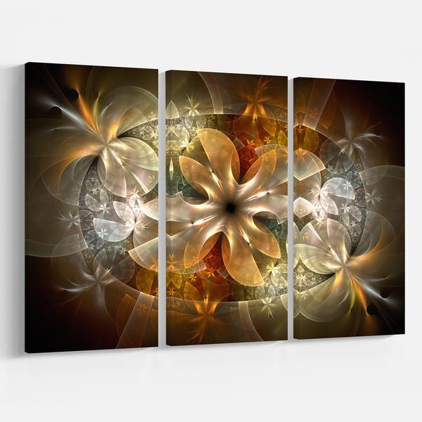 Fractal Flower With Blue Details Floral Digital Art Canvas Print Yellow On Sale Overstock 12126104