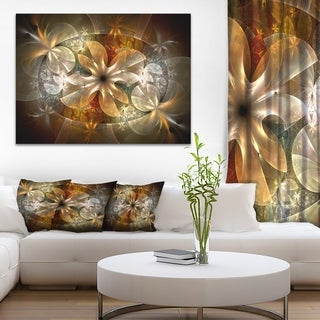 Fractal Flower with Blue Details - Floral Digital Art Canvas Print