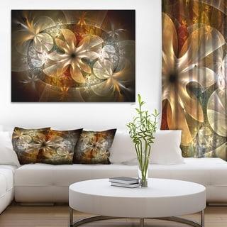 Fractal Flower with Blue Details - Floral Digital Art Canvas Print