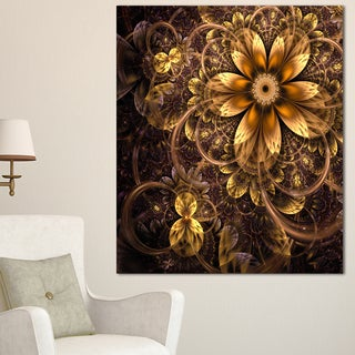 Fractal Dark Yellow Flower - Floral Digital Art Canvas Print