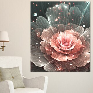 Abstract Fractal Pink Gray Flower - Floral Digital Art Canvas Print