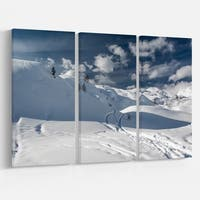 Ski Tracks on a Slope - Landscape Photo Canvas Art Print - Blue