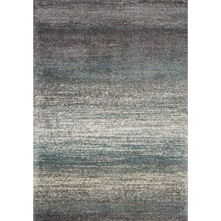 Marko Grey/ Blue Distressed Stripes Soft Touch Rug (5'3 x 7'7)