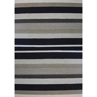 Millenia Beige/ Black Stripes Textured Rug (5'3 x 7'7)