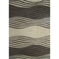Millenia Brown/ Beige Waves Textured Rug (7'10 x 10'10)