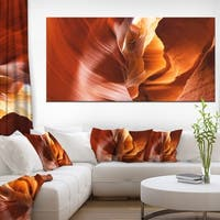 Sunshine in Antelope Canyon - Landscape Photo Canvas Art Print - Brown
