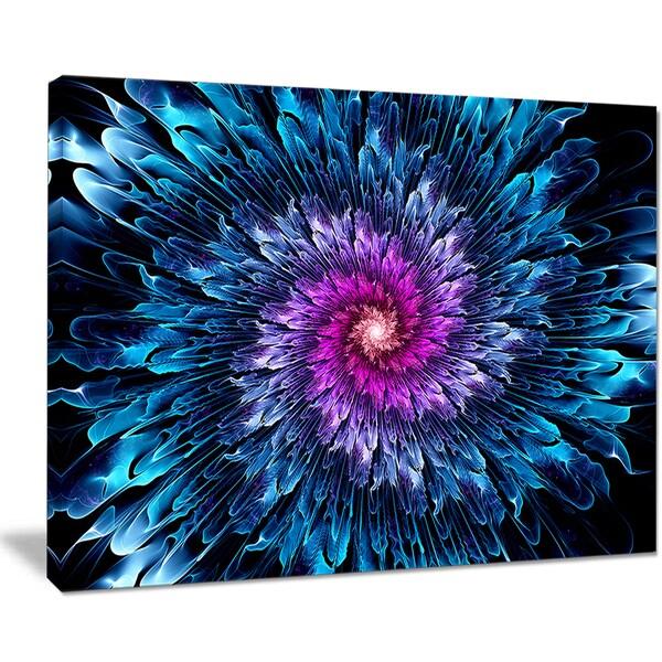 Magical Glowing Fractal Flower - Floral Digital Art Canvas Print - Blue