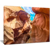 Sky from Antelope Canyon - Landscape Photo Canvas Art Print - YELLOW