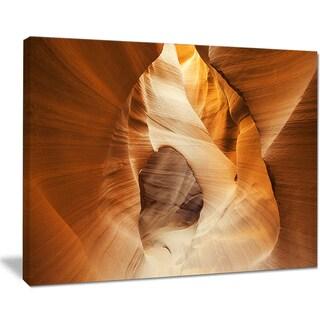 Inside Antelope Canyon, USA - Landscape Photo Canvas Art Print - Yellow