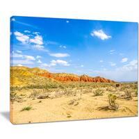 Rocky Mountain in Desert - Landscape Photo Canvas Art Print - Brown