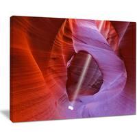 Red Orange Antelope Canyon - Landscape Photo Canvas Art Print - Purple